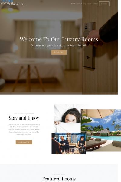 大气PC/手机浅褐色灰色酒店网站模板